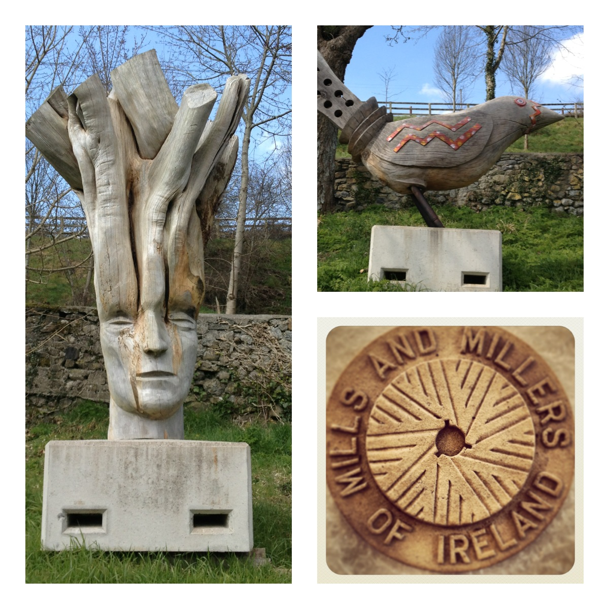 Handmade timber sculptures and Mills and Millers plaque