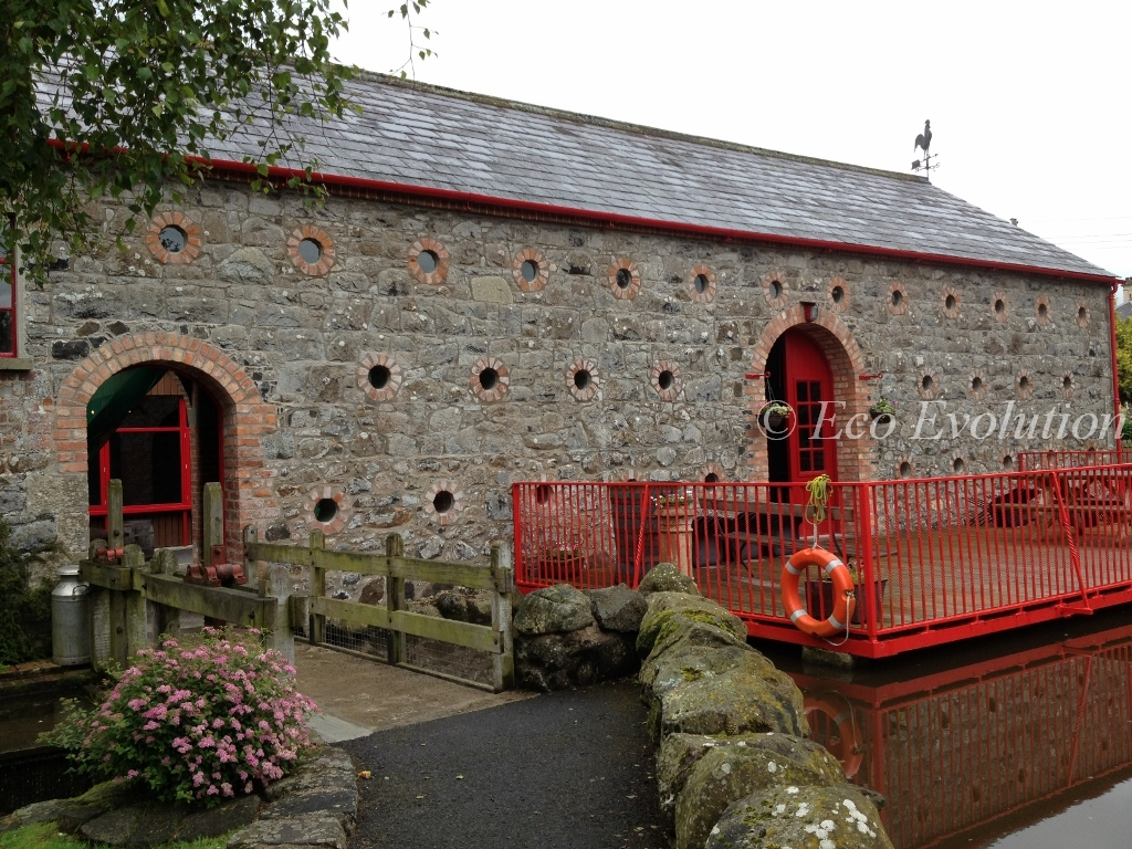 View of barn and sluice gate