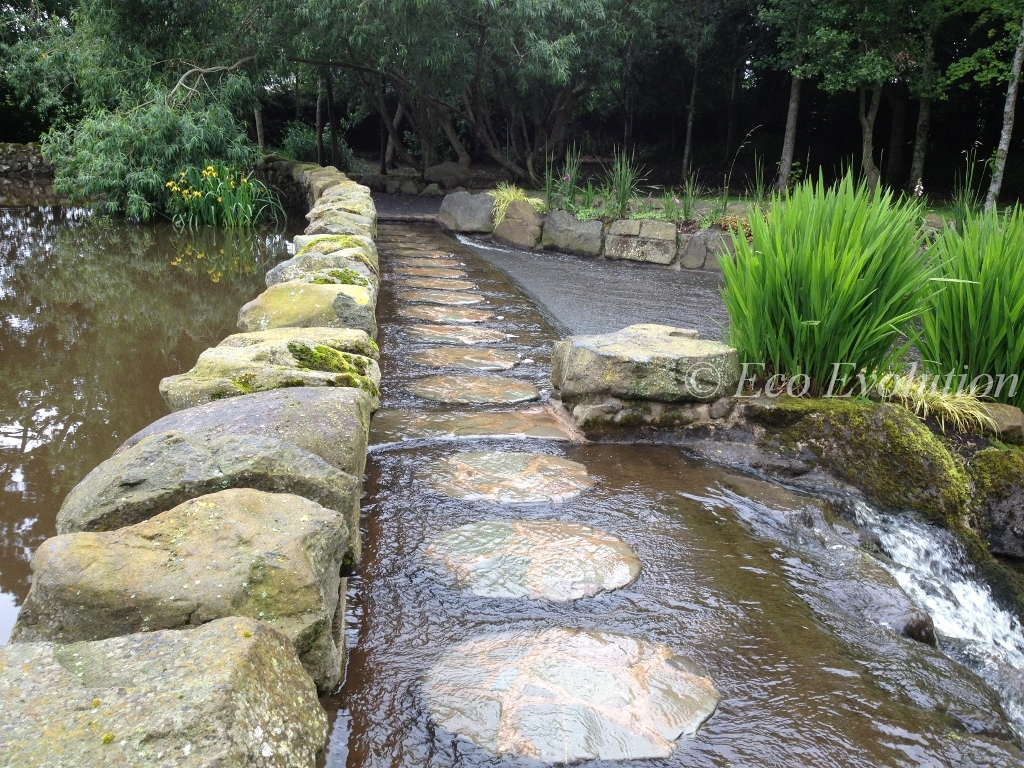 Stepping stones along the dam