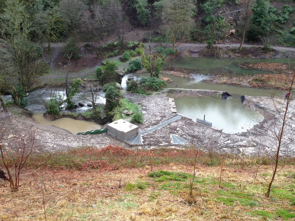 The site of the Archimedean Screw installation and lake