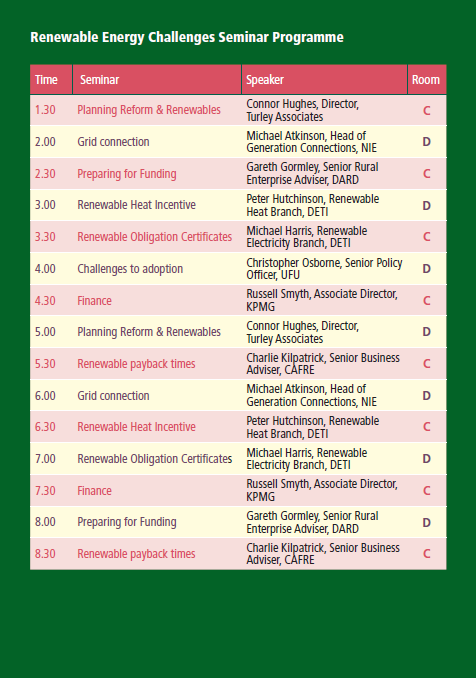 Renewable Energy Challenges Seminar Programme