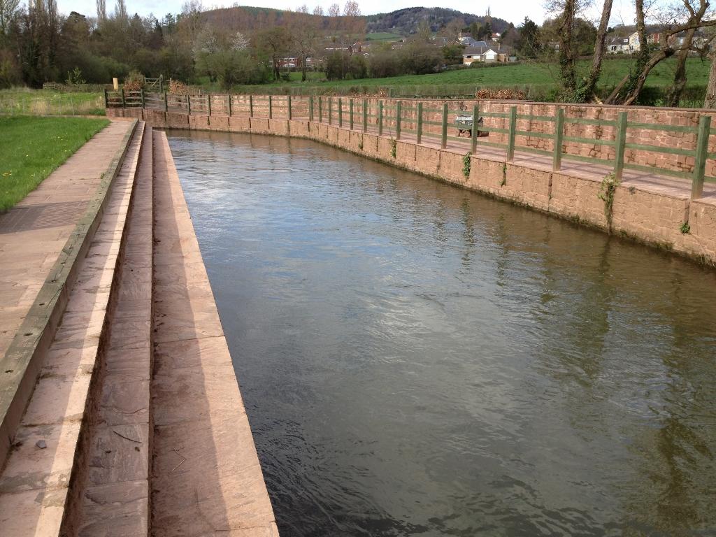 Leat supplying the hydropower turbines with public footpath alongside