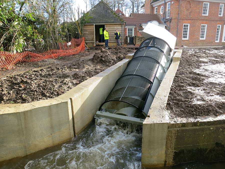 Archimedean Screw commissioned and generating electricity   Photo Credit: Mannpower Consulting Ltd