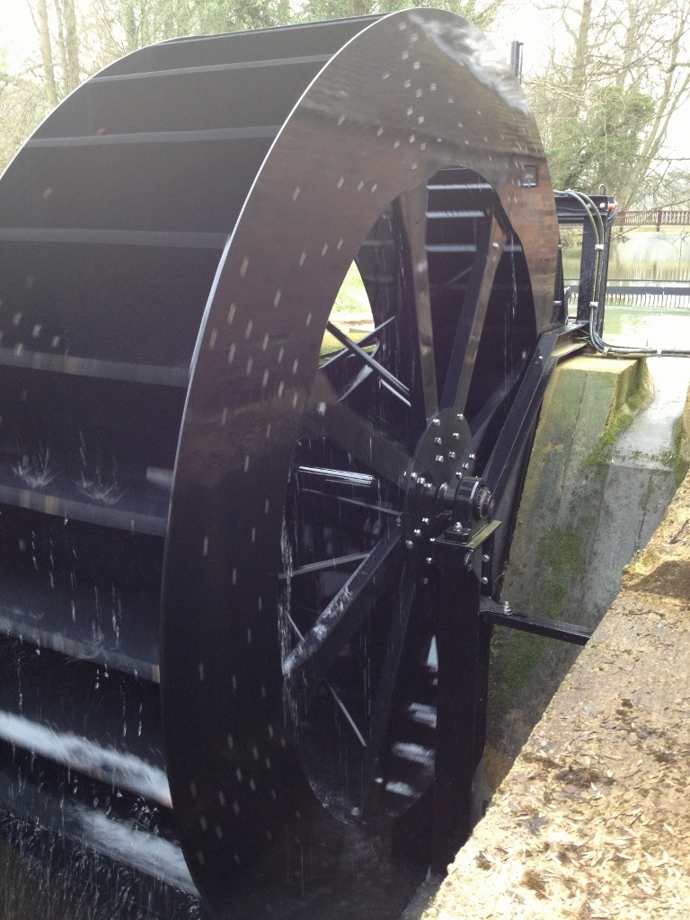 Waterwheel instalied and generating electricity